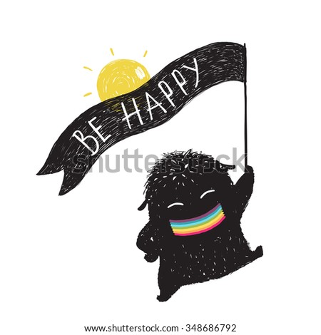 Funny Sunny Happy Cute Little Black Monster with Ribbon Flag. Sweet kids playful holiday fictional character picture rainbow smiling. Raster variant. - stock photo