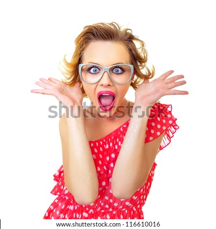 Funny surprised pin-up girl, isolated on white. Freak out woman - stock photo