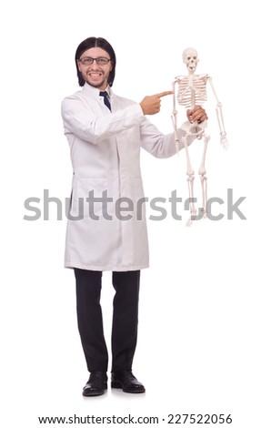 Funny teacher with skeleton isolated on white - stock photo