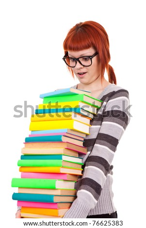 funny,  teenager girl carrying color stack books, isolated on white