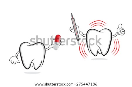 Funny tooth offering pill to another one with inflammation  - stock photo