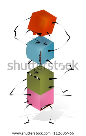 Funny Toy Blocks Pyramid. Toy funny pyramid of colorful blocks characters. Raster variant.