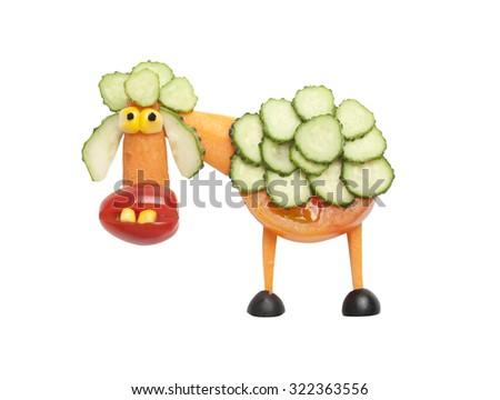 Funny vegetable sheep - stock photo