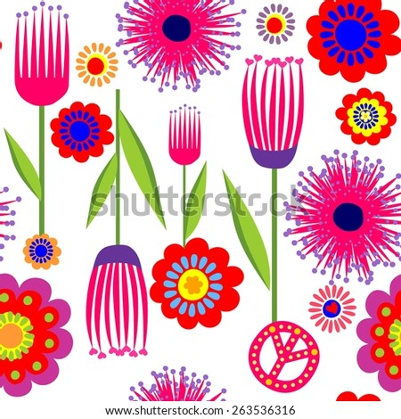 Funny wallpaper with abstract flowers - stock photo