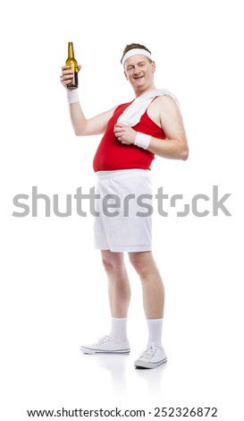 Funny weak body builder tries to exercise. Studio shot on white background. - stock photo