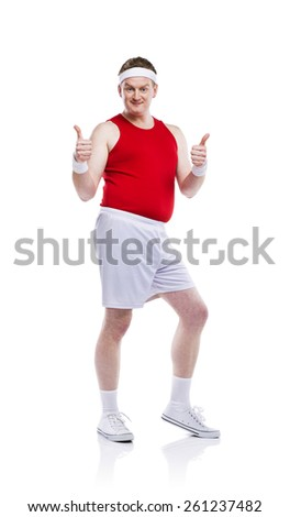 Funny weak sportsman exercising. Studio shot on white background. - stock photo