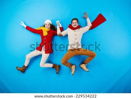 Funny winter couple - stock photo