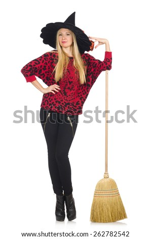 Funny witch with broom isolated on white - stock photo