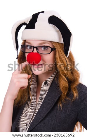 Funny woman clown isolated on the white