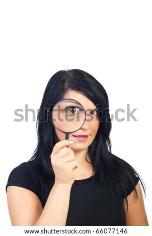 Funny woman holding magnifying glass  and spying isolated on white background - stock photo