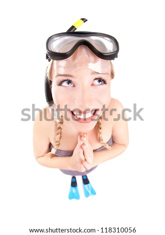 Funny woman in snorkeling gear, isolated studio shot - stock photo