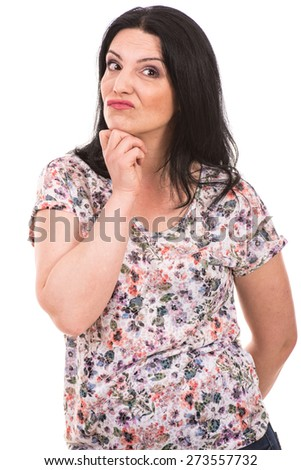 Funny woman make a wry face isolated on white background - stock photo