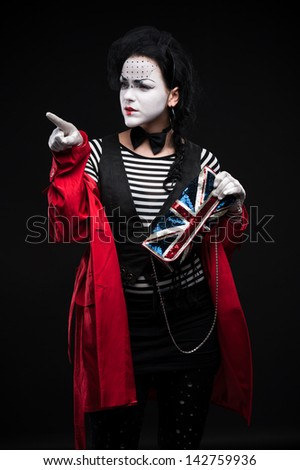 funny woman mime showing emotions - stock photo