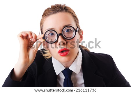 Funny woman nerd isolated on the white - stock photo