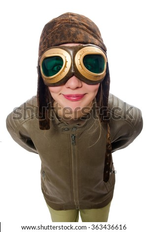 Funny woman pilot isolated on white - stock photo