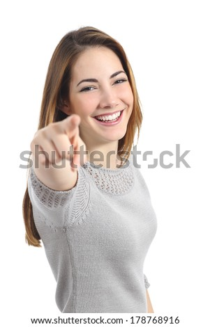 Funny woman pointing you isolated on a white background - stock photo