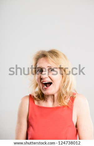 funny woman portrait real people high definition grey background