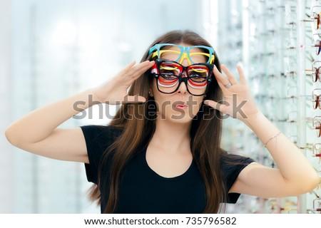 Funny Woman Trying Many Eyeglasses Frames Stock Photo (Royalty Free ...