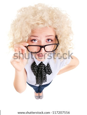 Funny woman wearing glasses - stock photo