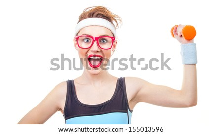 Funny woman with dumbbell, close-up of fitness girl - stock photo
