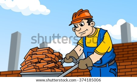 Funny worker carries bricks on a trolley. Cartoon illustration.