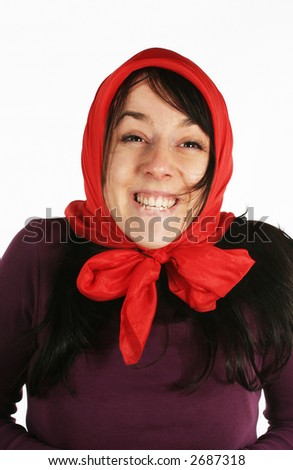 Funny young grandmother. Young woman being silly - stock photo