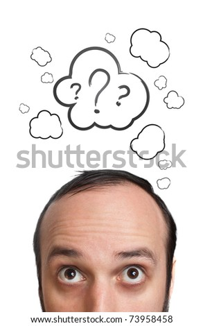 Funny Young guy with question mark over his head, isolated on white - stock photo