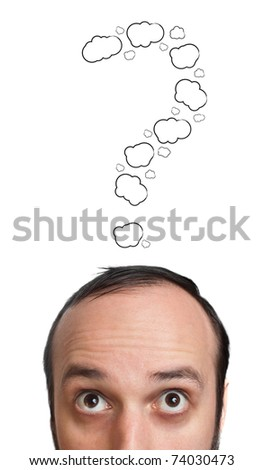 Funny Young guy with question mark over his head, isolated on white