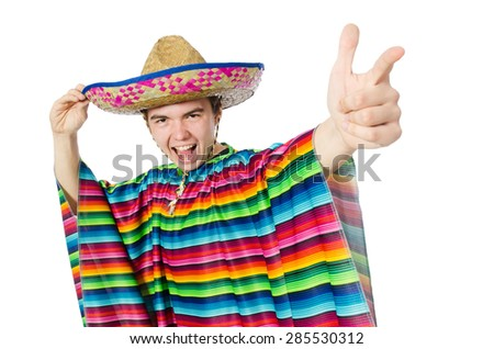 Funny young mexican isolated on white - stock photo