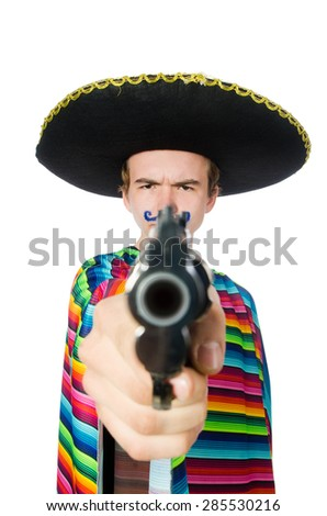 Funny young mexican with gun isolated on white - stock photo