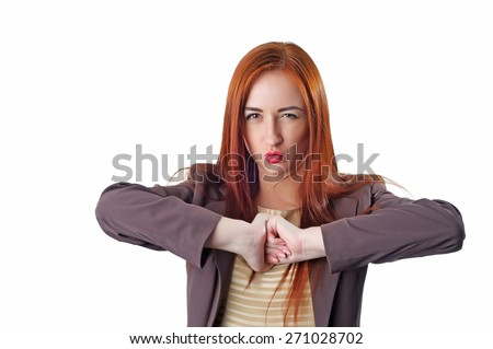 Funny young redhead business woman portrait. Isolated on white background - stock photo