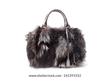 Fur bag isolated on white background - stock photo
