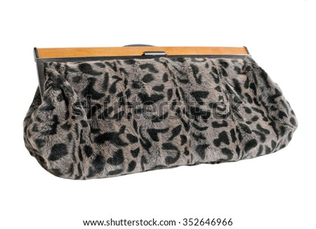Fur clutch isolated on white background.
