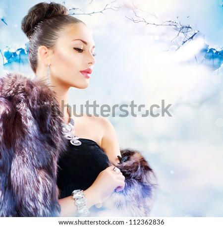 Fur Fashion. Winter Woman in Luxury Fur Coat - stock photo