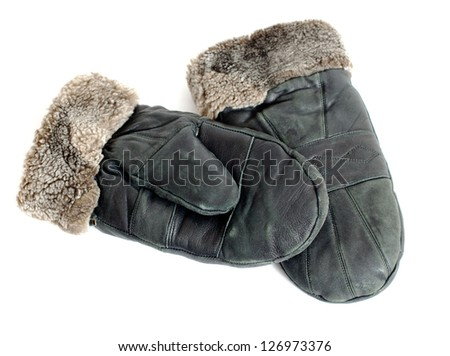 fur suede mittens isolated on white background - stock photo