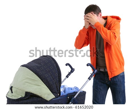 furious, angry father with raised hands and baby buggy