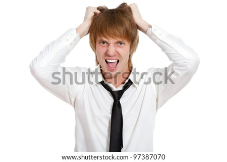 Furious angry mad business man screaming hold hair on head, portrait of young frustrated and stressed businessman isolated over white background, concept of executive yelling, problem crisis - stock photo