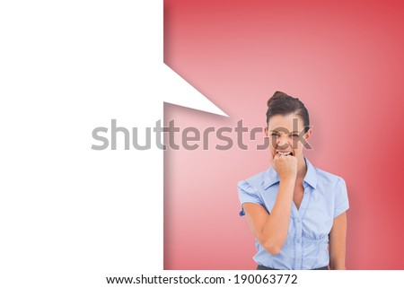 Furious businesswoman with speech bubble against red vignette - stock photo