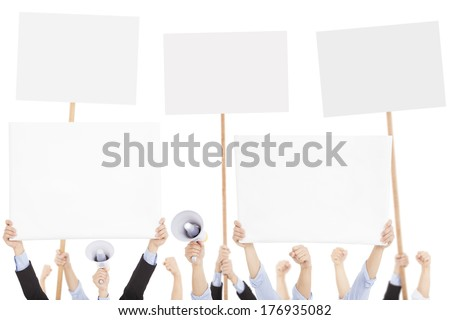 furious people protesting with board and megaphone - stock photo