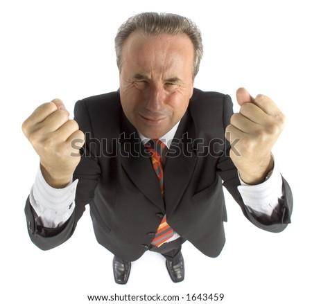 furious senior businessman - both hands up - stock photo