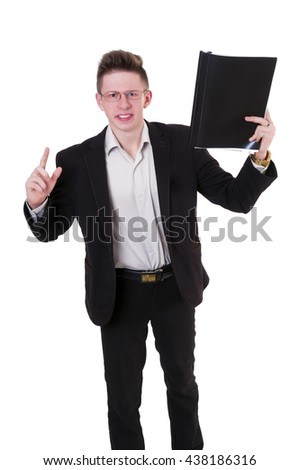 Furious young businessman with folder in hand - stock photo
