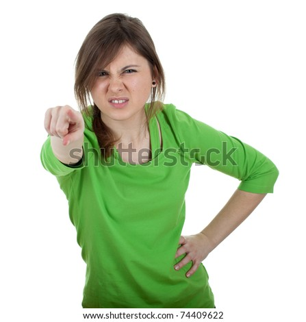 furious young woman with long hair pointing you - stock photo