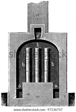 """furnace for malleable cast iron, longitudinal section - an illustration to article """"Metallurgy"""" of the encyclopedia publishers Education, St. Petersburg, Russian Empire, 1896 - stock photo"""