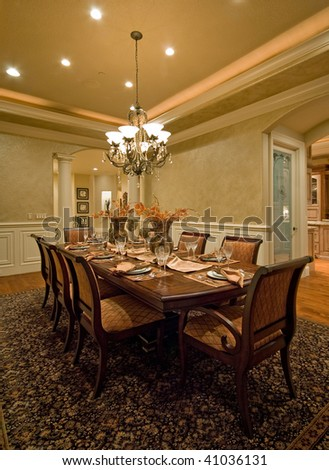 Furnished Dining Room in Luxury Home - stock photo