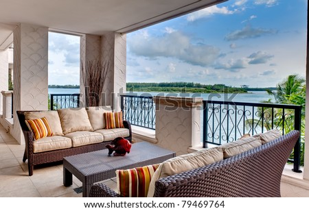 Furnished terrace with ocean view in Miami. - stock photo