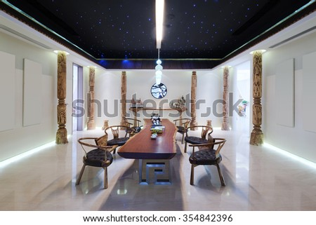 furniture and decoration in modern dining room