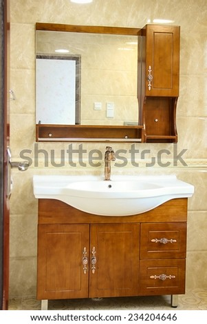 Furniture and wash equipment in restroom. - stock photo