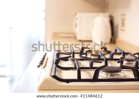 furniture background. gas stove luxury in the kitchen. small depth of field. - stock photo