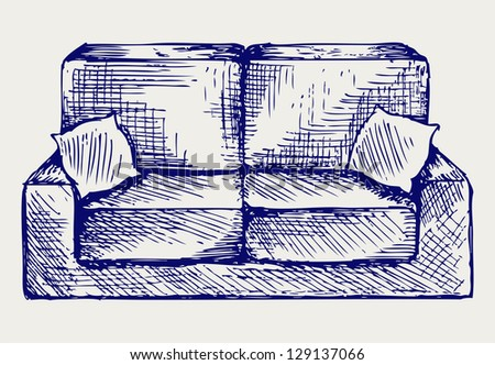 Furniture. Doodle style. Raster version - stock photo
