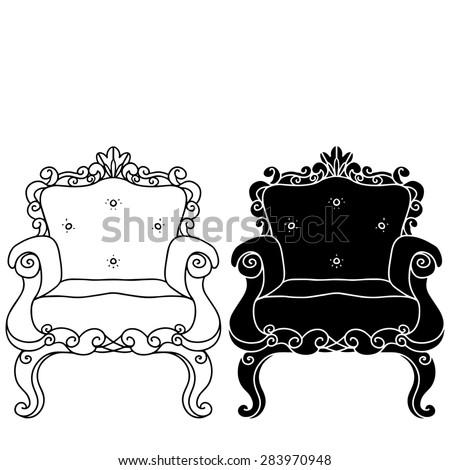 Furniture Hand Drawn Set Vintage Chair Armchair Throne Front View Closeup Line